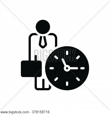 Black Solid Icon For Office-clock Around-the-clock Time-is-running Reminder Schedule Appointment Hou