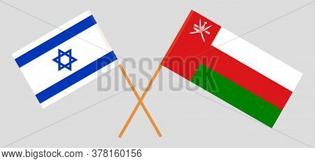 Crossed Flags Of Oman And Israel. Official Colors. Correct Proportion. Vector Illustration