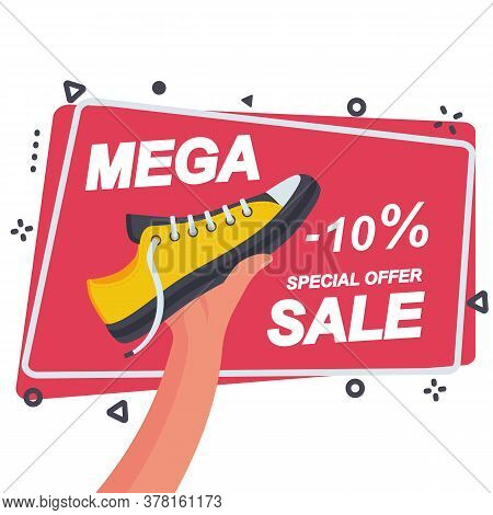 Mega Sale Template For Advertising And Promotion. Sports Shoe In The Seller S Hand. Discount On Shoe