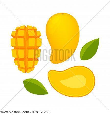 Mango Ripe And Slice Isolated On White, Yellow Mango Slice Half Cut Piece, Illustration Mango Fruit