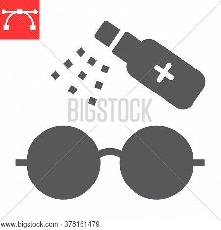 Disinfection Eyeglasses Glyph Icon, Hygiene And Disinfection, Cleaning Eyeglasses Sign Vector Graphi