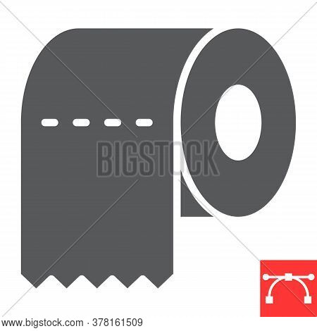 Toilet Paper Glyph Icon, Hygiene And Disinfection, Toilet Paper Sign Vector Graphics, Editable Strok