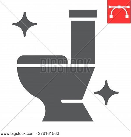Toilet Glyph Icon, Hygiene And Disinfection, Clean Toilet Sign Vector Graphics, Editable Stroke Soli