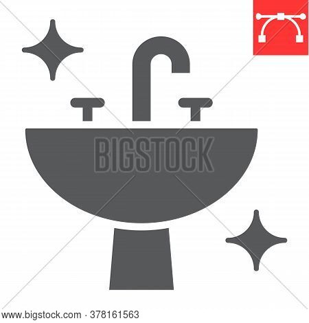 Washbasin Glyph Icon, Hygiene And Bathroom, Disinfection Sink Sign Vector Graphics, Editable Stroke