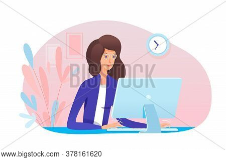 Young Woman Secretary Working At Computer In Office. Girl Assistant Typing On Keyboard Sit At Desk.