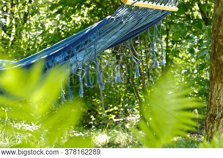 Hammock In The Garden.beautiful Blue Hammock With Fringe Hangs On A Tree On A Sunny Summer Day In Th