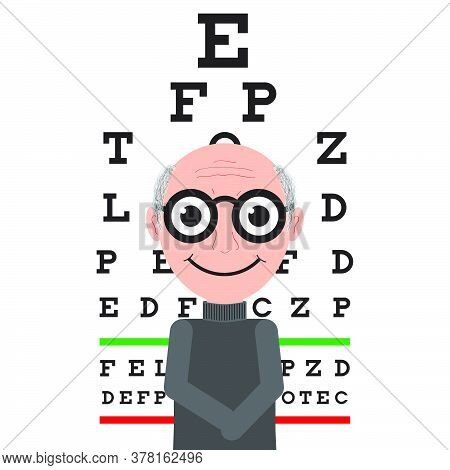 Old Man Wearing Eyeglasses Isolated On Table For Testing Visual Acuity Background. Cartoon Vector Il