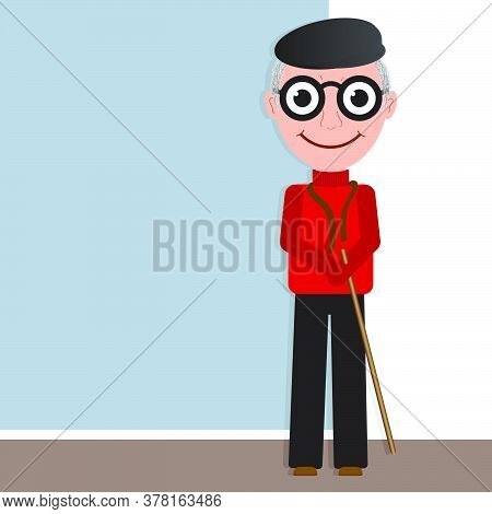Old Man Wearing A Cap And Eyeglasses On White And Blue Wall. Cartoon Vector Illustration