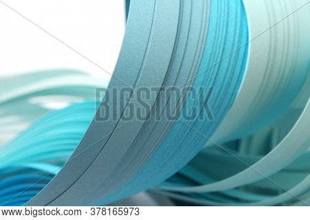 Abstract blue and turquoise color strip wave paper background.