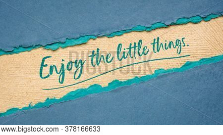 enjoy the little things inspirational banner - handwriting on a handmade paper, mindset, simplicity, joy and happiness concept