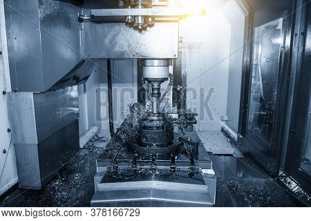 The Cnc Milling Machine Cutting The Mold Parts By Solid End Mill Tools. The Mold And Die Manufacturi