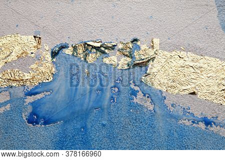 Grunge dirty texture wall with gold paper . Abstract background.