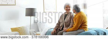 Elderly Women Spending Time Together In Bedroom, Banner Design. Senior People Care