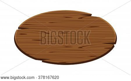 Ellipse Plank For Signage Isolated On White, Wood Sign Oval Shape, Empty Wooden Signpost For Copy Sp