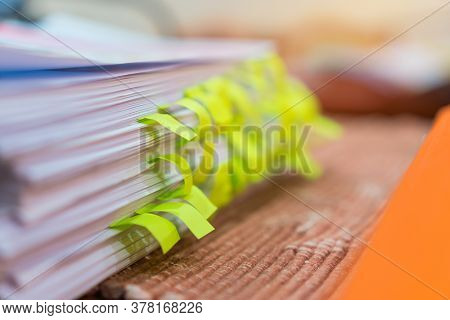 Book Paperwork Of Colorful Sticky Note Of Schedule List On Document For Reminder Or Memo Sign For Ad