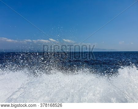 Water Splash And Waves Viewed From During Fast Boat Ride In Bali, Indonesia. Bali Boat Ride