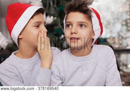 Lovely Little Twin Brothers Celebrating Christmas At Home
