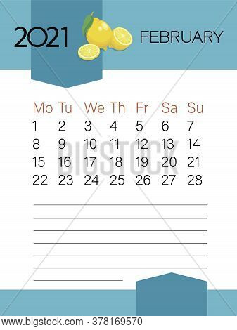 February 2021. Calendar Template. Lemon Fruit. Page. Planner Diary In A Minimalist Style.