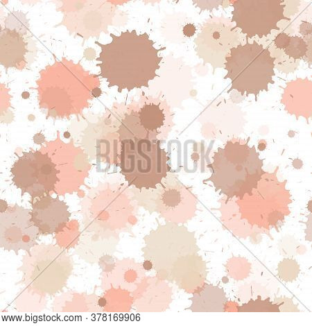 Paint Transparent Stains Vector Seamless Grunge Background. Colorful Ink Splatter, Spray Blots, Mud