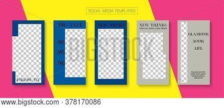 Modern Stories Vector Background. Blogger Hipster Frame, Social Media Kit Template. Online Shop Luxu