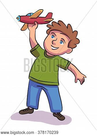 Boy Playing With Toy Plane. Happy Cute Child Sitting On Floor In Bedroom Or Playroom. Vector Cutout