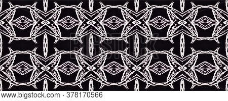 Lace Seamless Pattern. Victorian Style. Hand Drawn. Ink Print. White Geometric Ornament On Black. Mo