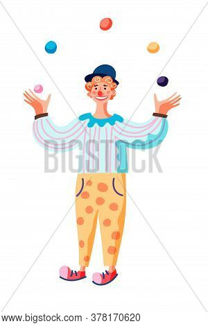 Vector Character Cartoon Comedian Juggling Balls. Funny Clown Stands And Performs On Circus Stage Or