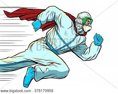 Super Hero Doctor Runs. Covid19 Coronavirus Epidemic. Pop Art Retro Vector Illustration 50s 60s Styl