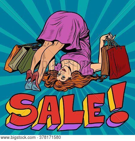 Female Somersault Athletic Flexibility. Sale Of Fitness Services Concept. Pop Art Retro Vector Illus