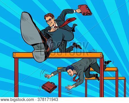 Competition Businessmen Jump Over Barriers. Pop Art Retro Vector Illustration Kitsch Vintage 50s 60s
