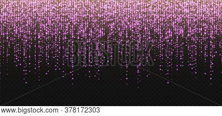 Glitter Rain, Pink Stardust, Bright Rose Sparkles Isolated On A Dark Background. Valentines Day Deco
