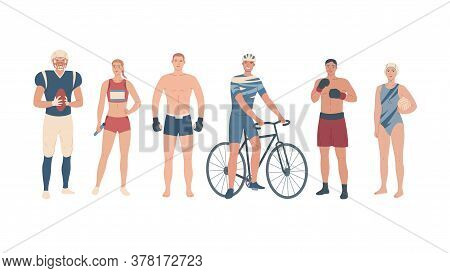 Athletes Of Different Sports. Team Players, Martial Arts And Single Sport
