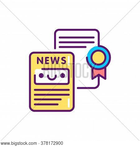 Writing Press Releases Line Color Icon. Event Management. Sign For Web Page, Mobile App, Button, Log