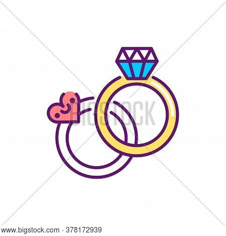 Organization Of Wedding Events Line Color Icon. Event Management. Sign For Web Page, Mobile App, But