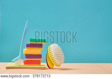 Cleanup. Housekeeping. Cleaning Service. Brush For Dish. Stack Of Colourful Sponges. Washcloths. Cop