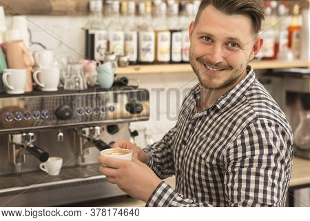 Barista Working At His Coffee Shop