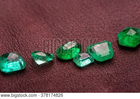 Emerald Gemstones. Natural Precious Green Emeralds Loose Stone