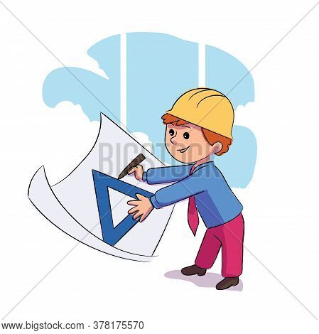 Cute Little Kid Builder Wearing Helmet Draw To Ruler On Whatman Paper. Young Engineer At Work. Job D