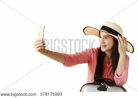 Beautiful Asian Woman Cheerful Smiling And Take Selfie On Smart Mobile Phone, Beauty Young Girl Wear