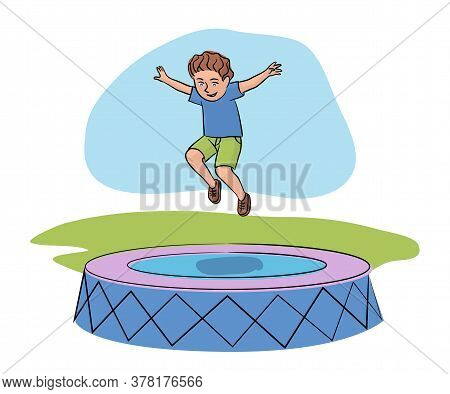 Cheerful Boy Having Fun Jumping High On Trampoline. Happy Children And Childhood. Active Rest And Re