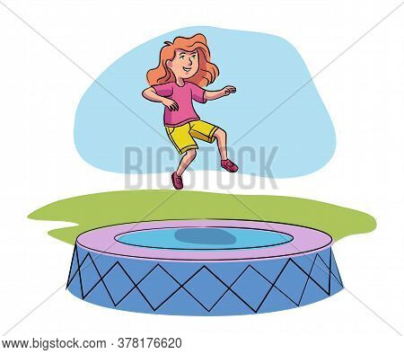 Cheerful Girl Having Fun Jumping High On Trampoline. Happy Children And Childhood. Active Rest And R