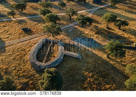 Landscape With An Old Livestock Structure In The Dehesa De La Luz. Spain.