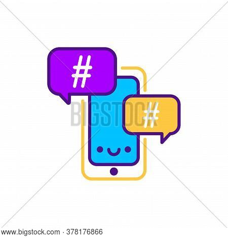 Hashtag Line Color Icon. Smm Promotion. Sign For Web Page, Mobile App, Button, Logo. Vector Isolated