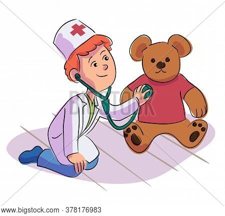 Cute Handsome Little Boy Doctor Listening Teddy Bear Heart Beat With Stethoscope. Cheerful Smiling C