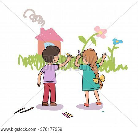 Cute Little Boy And Girl Painting Wall With Chalk. Kids Drawing Grass, Flower, House. Playground, Ki