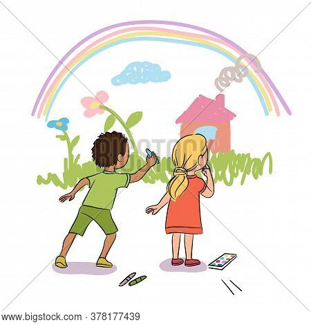 Cute Little Boy And Girl Painting Wall With Chalk. Kids Drawing Grass, Flower, House And Rainbow. Pl