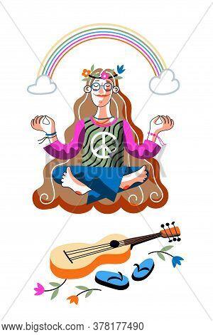 Hippie Girl Sitting In Lotus Position Front Of Guitar Under Rainbow. Meditation Yoga Pose. Sun Child