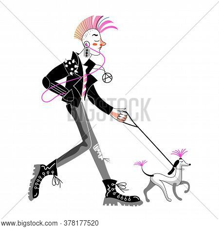 Young Man Punk, Guy Rocker With Traditional Haircut Walking With Poodle Isolated On White Background