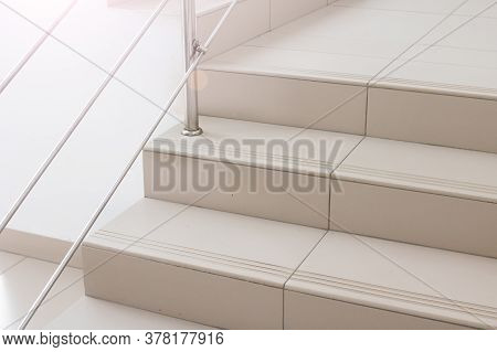 Staircase With Metal Railings Close Up Indoor