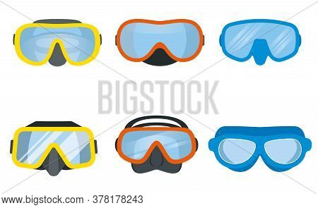 Scuba Diving Mask Set. Underwater Equipment For Divers. Vector Illustration.